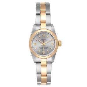 Rolex Grey 18K Yellow Gold And Stainless Steel Oyster Perpetual 67183 Women's Wristwatch 24 MM