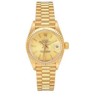 Rolex Champagne 18K Yellow Gold President Datejust 69178 Women's Wristwatch 26 MM