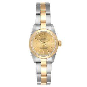 Rolex Champagne 18K Yellow Gold And Stainless Steel Oyster Perpetual Non-Date 67183 Women's Wristwatch 24 MM