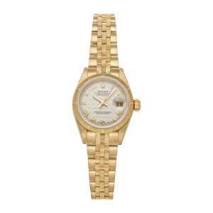 Rolex Silver 18K Yellow Gold Datejust 69278 Women's Wristwatch 26 MM