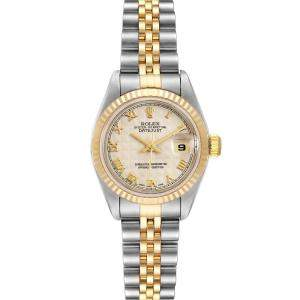 Rolex Silver 18K Yellow Gold And Stainless Steel Datejust 79173 Women's Wristwatch 26 MM
