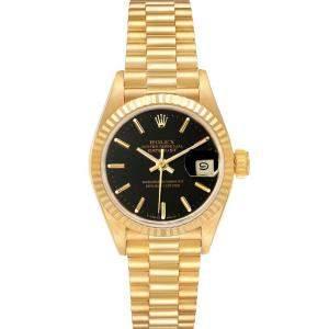 Rolex Black 18K Yellow Gold President Datejust 69178 Women's Wristwatch 26 MM