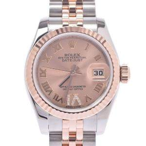 Rolex Pink Diamonds 18K Rose Gold And Stainless Steel Datejust 179171 Women's Wristwatch 26 MM