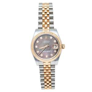Rolex Mother Of Pearl 18K Rose Gold & Stainless Steel Diamond Datejust 178271 Women's Wristwatch 31 mm