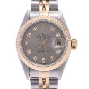 Rolex Black Diamonds 18K Yellow Gold And Stainless Steel Datejust 69173G Women's Wristwatch 26 MM