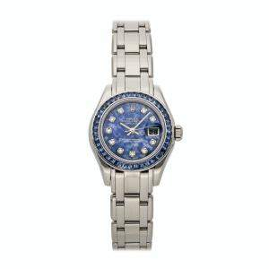 Rolex Blue Sodalite Diamonds 18K White Gold Datejust 69309SACI Women's Wristwatch 29 MM
