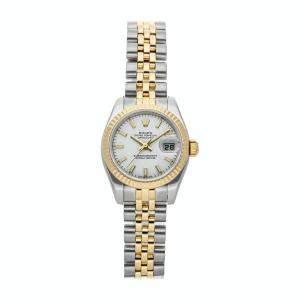 Rolex White 18k Yellow Gold Stainless Steel Datejust 179173 Women's Wristwatch 26mm