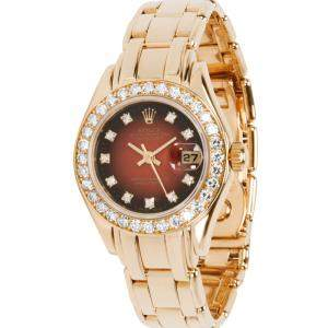 Rolex Red Diamonds 18K Yellow Gold Pearlmaster 69298 Women's Wristwatch 29 MM