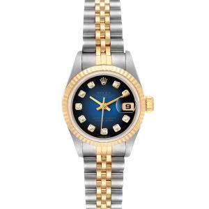 Rolex Black Diamonds 18K Yellow Gold And Stainless Steel Datejust 69173 Women's Wristwatch 26 MM