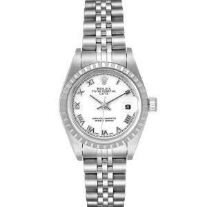 ساعة يد نسائية رولكس اويستر بيربيتوال دايت 79240 ستانلس ستيل بيضاء 26 مم