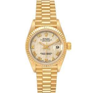 ساعة يد نسائية رولكس بريزيدينت دايتجست 69178 ذهب أصفر عيار 18 فضية 26 مم