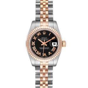 ساعة يد نسائية رولكس دايتجست 179171 ستانلس ستيل و ذهب وردي عيار 18  سوداء 26 مم