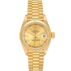 ساعة يد نسائية رولكس بريزيدينت دايتجست 69178 ذهب أصفر عيار 18 شامبانيا 26 مم