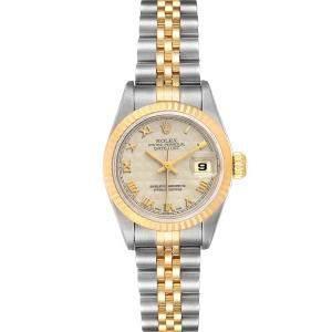 ساعة يد نسائية رولكس دايتجست 69173 ستانلس ستيل و ذهب أصفر عيار 18 عاجية 26 مم