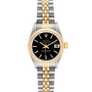 ساعة يد نسائية رولكس دايتجست 69173 ستانلس ستيل و ذهب أصفر عيار 18 سوداء 26 مم