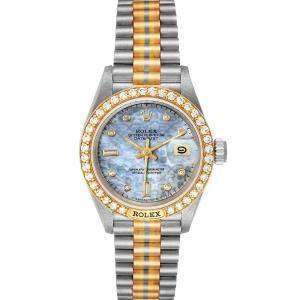 ساعة يد نسائية رولكس بريزيدينت تريدور 69149 ستانلس ستيل و ذهب وردي عيار 18 و ألماس و صدف زرقاء 26 مم