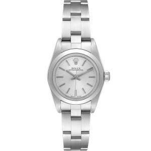 ساعة يد نسائية رولكس اويستر بيربيتوال 76080 أوتوماتيك ستانلس ستيل فضية 24 مم