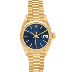 ساعة يد نسائية رولكس بريزيدينت دايتجست 69178 ذهب أصفر عيار 18 زرقاء 26 مم