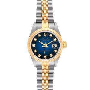 ساعة يد نسائية رولكس دايتجست 69173 ستانلس ستيل و ذهب أصفر عيار 18 و ألماس زرقاء 26 مم
