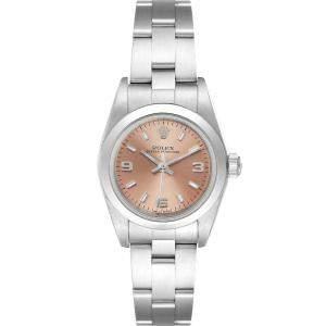 ساعة يد نسائية رولكس اويستر بيربيتوال 76080 ستانلس ستيل سالمون 24 مم
