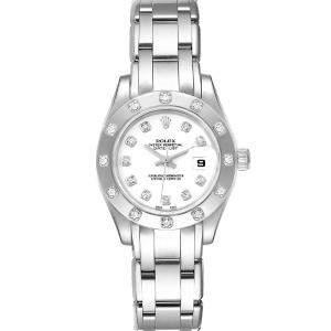 ساعة يد نسائية رولكس بيرلماستر 80319 ألماس و ذهب أبيض عيار 18 بيضاء 29 مم