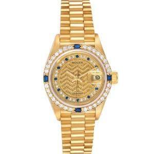 ساعة يد نسائية رولكس بريزدانت ديتجست 69088 ذهب أصفر عيار 18 زفير وألماس شامبين 26 مم