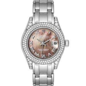ساعة يد نسائية رولكس بيرلماستر 69359 ذهب أبيض عيار 18  ألماس صدف سوداء 29 مم