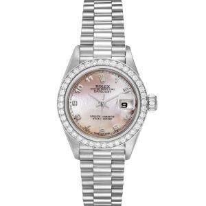 ساعة يد نسائية رولكس بريزدانت 69136 بلاتينوم صدف  26 مم