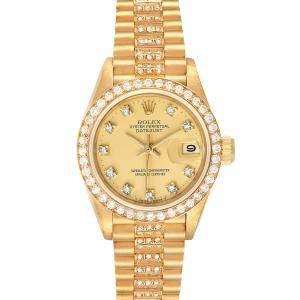 ساعة يد نسائية رولكس بريزدانت ديتجست 69138 ذهب أصفر عيار 18 برتقالية 26 مم