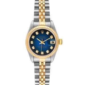 ساعة يد نسائية رولكس ديتجست 79173ستانلس ستي وذهب أصفر عيار 18 ماس زرقاء 26 مم