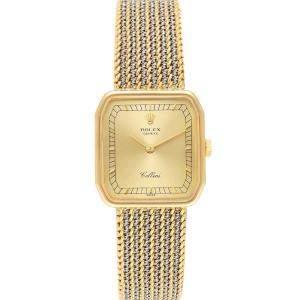 Rolex Champagne 18k Yellow Gold Cellini 4347 Women's Wristwatch 24 x 24 MM