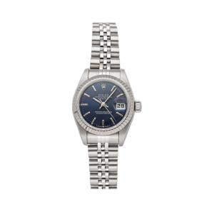 ساعة يد نسائية رولكس ديتجاست 69174 ستانلس ستيل وذهب أبيض عيار 18 زرقاء 26 مم