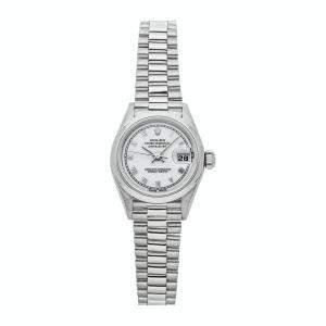 ساعة يد نسائية رولكس ديتجاست 69166 بلاتينيوم بيضاء 26 مم
