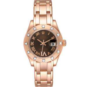 Rolex Brown Diamonds 18K Rose Gold Pearlmaster 80315 Women's Wristwatch 29 MM