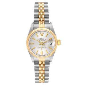 Rolex Silver 18K Yellow Gold Datejust Stainless Steel 69173 Women's Wristwatch 26MM