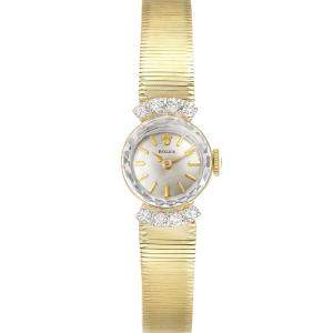Rolex Silver Diamonds 14k Yellow Gold Vintage Women's Wristwatch 15 MM