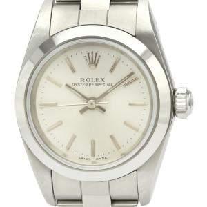 ساعة يد نسائية رولكس أويستر بربتوال 76080 ستانلس ستيل فضية 24 مم