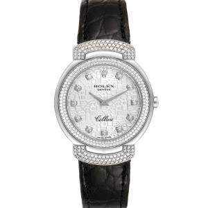 Rolex Silver Diamonds 18K White Gold Cellini Cellissima 6683 Women's Wristwatch 33 MM