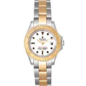 Rolex White 18K Yellow Gold And Stainless Steel Yachtmaster 69623 Women's Wristwatch 29 MM