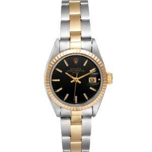 Rolex Black 18K Yellow Gold And Stainless Steel Oyster Perpetual Date Automatic Women's Wristwatch 26 MM