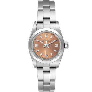 Rolex Salmon Stainless Steel Oyster Perpetual 67180 Women's Wristwatch 24 MM