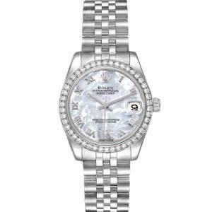 Rolex MOP Diamonds White Gold Datejust 178384 Women's Wristwatch 31 MM