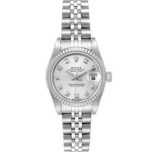 Rolex Silver Diamonds 18K White Gold And Stainless Steel lDatejust 79174 Women's Wristwatch 26 MM