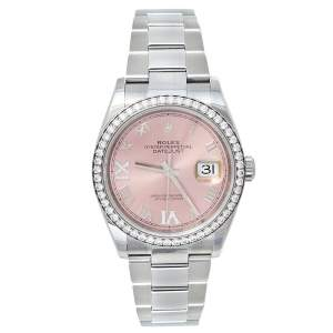 Rolex Pink 18K White Gold & Stainless Steel Diamonds Oyster Perpetual Datejust 126284RBR Women's Wristwatch 36 mm