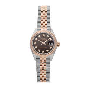 Rolex Brown Diamonds 18k Rose Gold And Stainless Steel Datejust 279171 Women's Wristwatch 28 MM