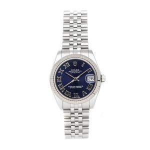 Rolex Blue Stainless Steel Datejust 178274 Women's Wristwatch 31 MM