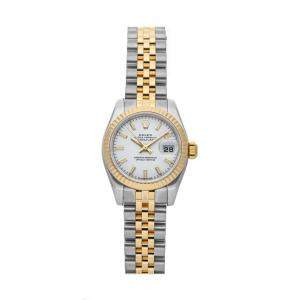 Rolex White 18K Yellow Gold And Stainless Steel Datejust 179173 Women's Wristwatch 26 MM