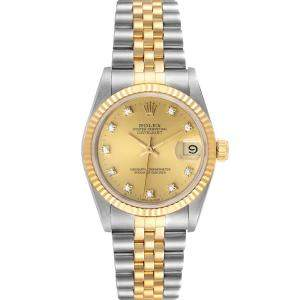 Rolex Champagne 18K Yellow Gold And Stainless Steel Datejust 68273 Automatic Women's Wristwatch 31 MM