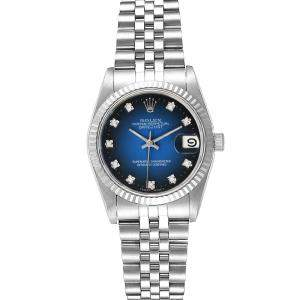 Rolex Blue Diamonds 18K White Gold And Stainless Steel Datejust 68274 Women's Wristwatch 31 MM