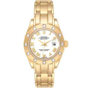 Rolex White Diamonds 18K Yellow Gold Pearlmaster 69318 Women's Wristwatch 29 MM